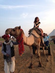Riding a camel